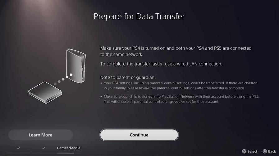 ps5 data transfer