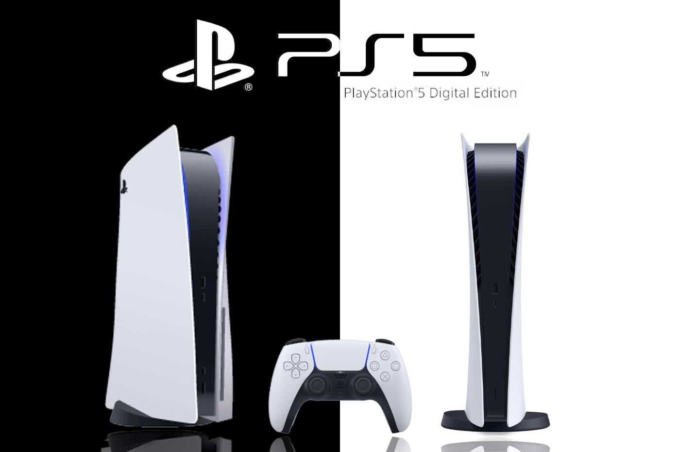 عکس کنسول های PS5 و PS5 digital edition در حالت عمودی