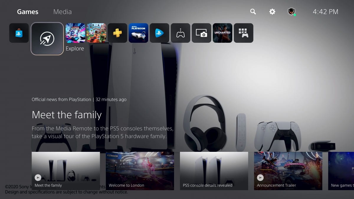 صفحه ی اصلی رابط کاربری PS5