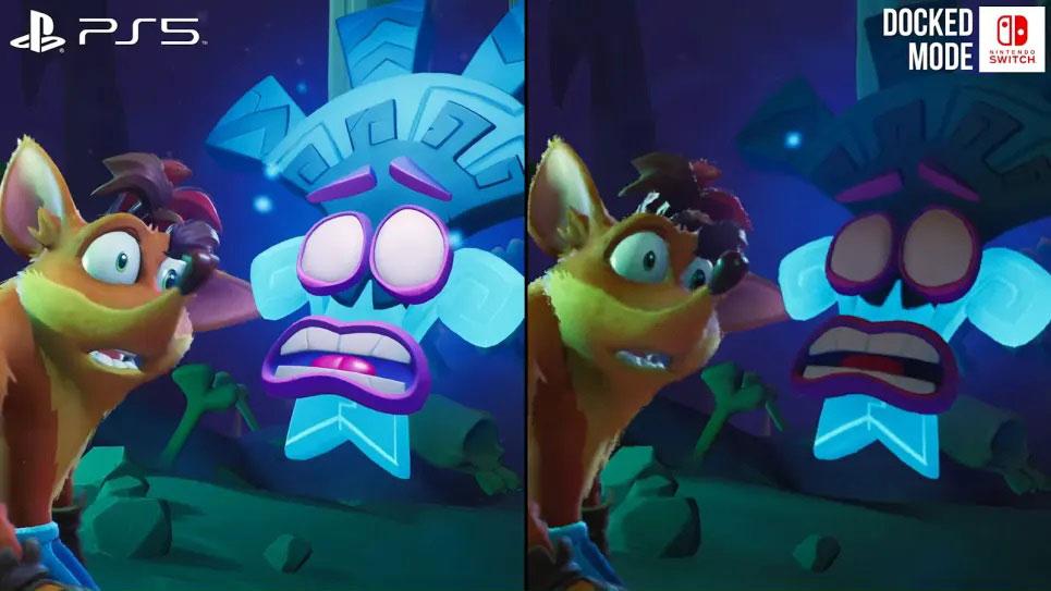 مقایسه بازی Crash Bandicoot 4 بر روی نینتندو سوئیچ و ps5 تصویر ۱