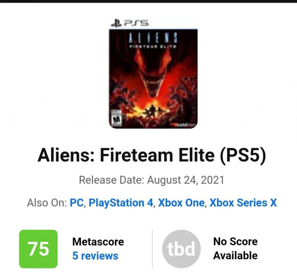متا اسکور (Meta Score) بازی Aliens: Fireteam Elite اعلام شد