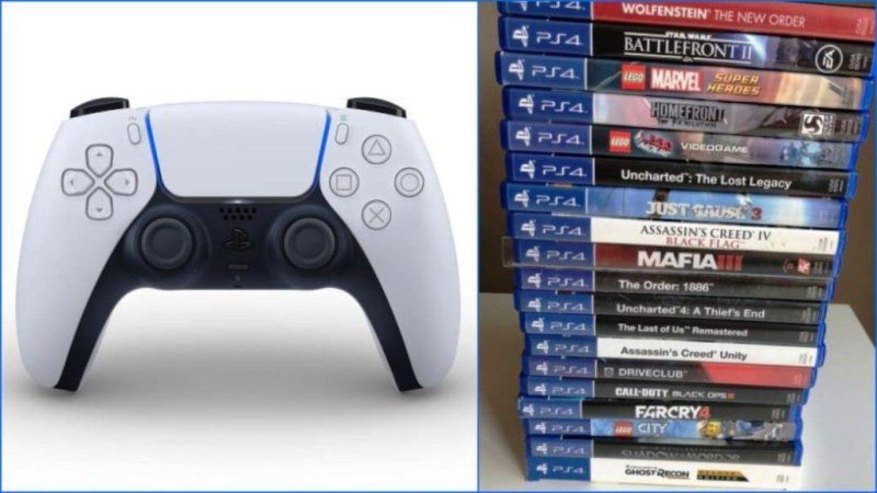 تصویر بازی های PS4 در کنار دسته PS5